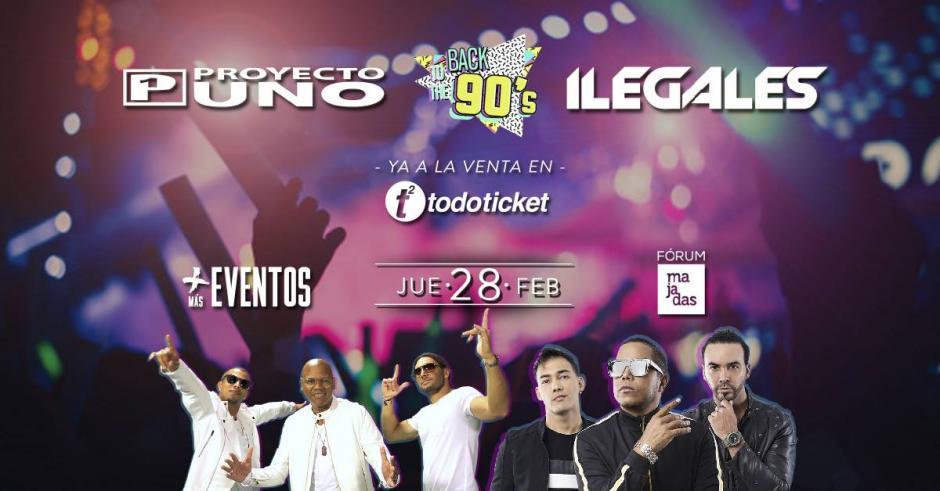 Back to the 90´s trae a Proyecto Uno e Ilegales el 28 de febrero en Forum Majadas. (Foto: cortesía Más Eventos)
