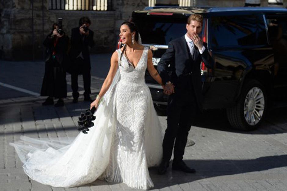 Sergio Ramos y Pilar Rubio se casaron en la Catedral de Sevilla (Foto: AFP)