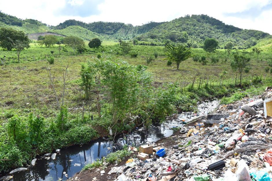 En el vertedero de San Benito nace un arroyo que arrastra una gran cantidad lixiviados y microplásticos al lago. (Foto: Fredy Hernández/Soy502)