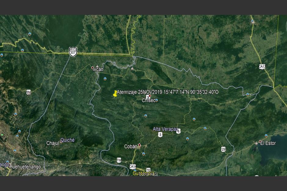 La avioneta cayó en una zona de difícil acceso en Alta Verapaz. (Foto: Ejército de Guatemala)