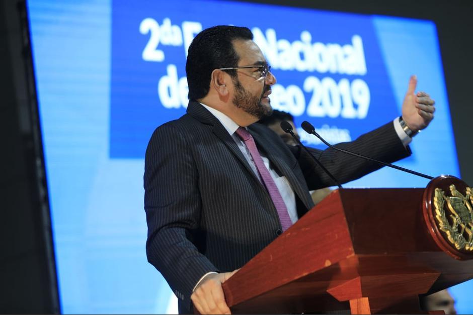 El presidente Jimmy Morales participó en la inauguración de la segunda edición de la Feria del Empleo. (Foto: AGN)