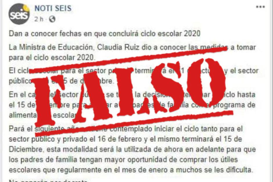 En redes sociales se ha compartido información falsa sobre la culminación del ciclo escolar en Guatemala hasta diciembre. (Foto: Archivo/Soy502)