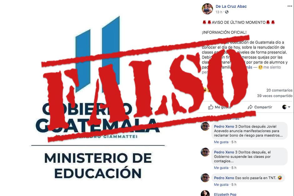 El Ministerio de Educación desmiente que este 7 de septiembre reinicien las clases presenciales en Guatemala. (Foto: Archivo/Soy502)