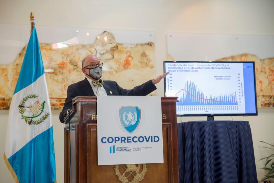 Edwin Asturias ofreció su última conferencia de prensa como jefe de la Coprecovid. (Foto: Cortesía)