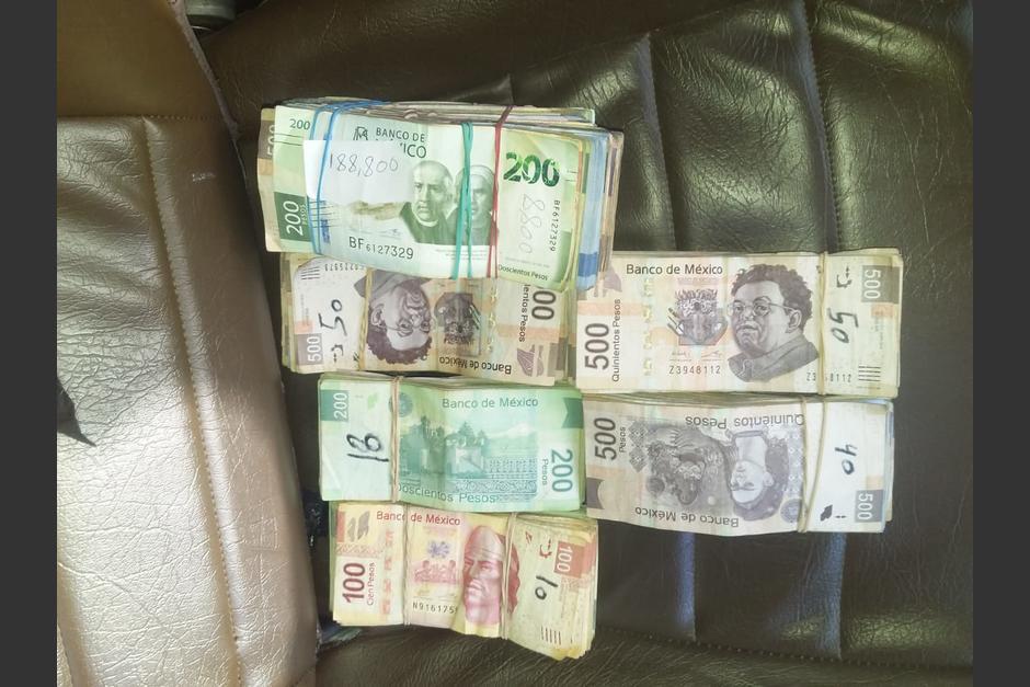 Decomisan papel moneda mexicano en Huehuetenango. (Foto: PNC)