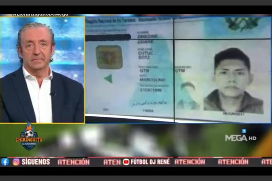 En programa compartió con sorpresa el nombre peculiar del guatemalteco en honor a Zinedine Zindane. (Captura Pantalla)
