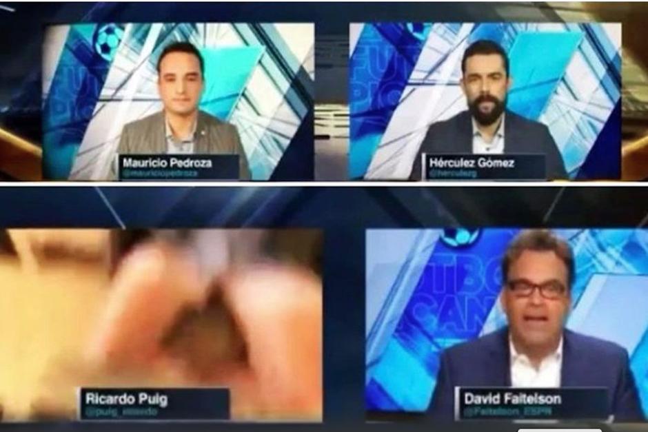 El presentador de Futbol Picante de ESPN sufrió un accidente en vivo que lo dejó ver que estaba trabajando en calzoncillos. (Foto: Captura de video)