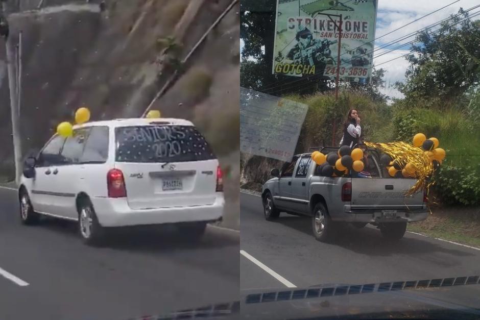 Un grupo de jóvenes celebró su graduación con una caravana. (Fotos: Twitter CoronavirusGT)