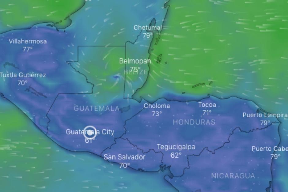 """El huracán """"Nana"""" se degradó a tormenta tropical al llegar a territorio guatemalteco este jueves 3 de septiembre. (Foto: Windy.com)"""