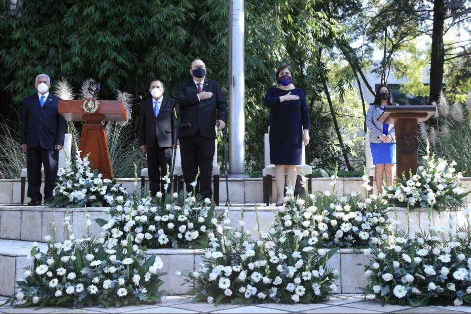 El presidente Alejandro Giammattei participa en la conmemoración del 199 Aniversario de la Independencia de Centroamérica. (Foto: Presidencia)