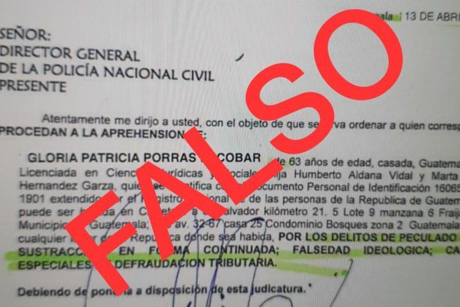 En redes sociales circula una orden de captura contra Gloria Porras. La PNC informa que es falsa. (Foto: Archivo/Soy502)