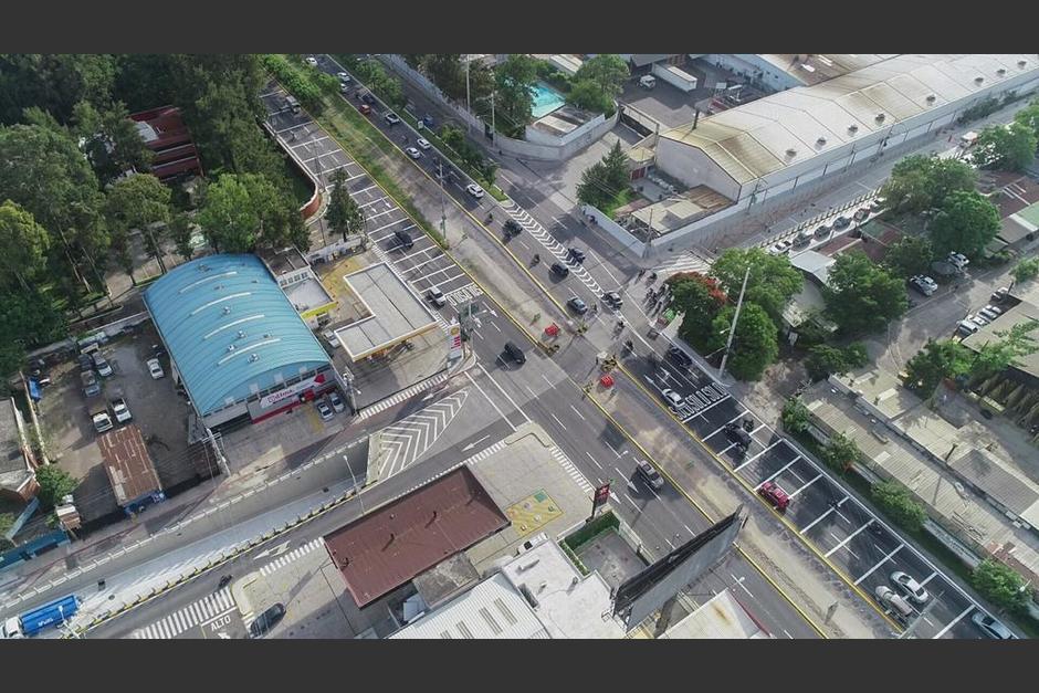 Esta es la vista área del paso a desnivel que habilitó la Municipalidad de Guatemala. (Foto: Fredy Hernández/Soy502)