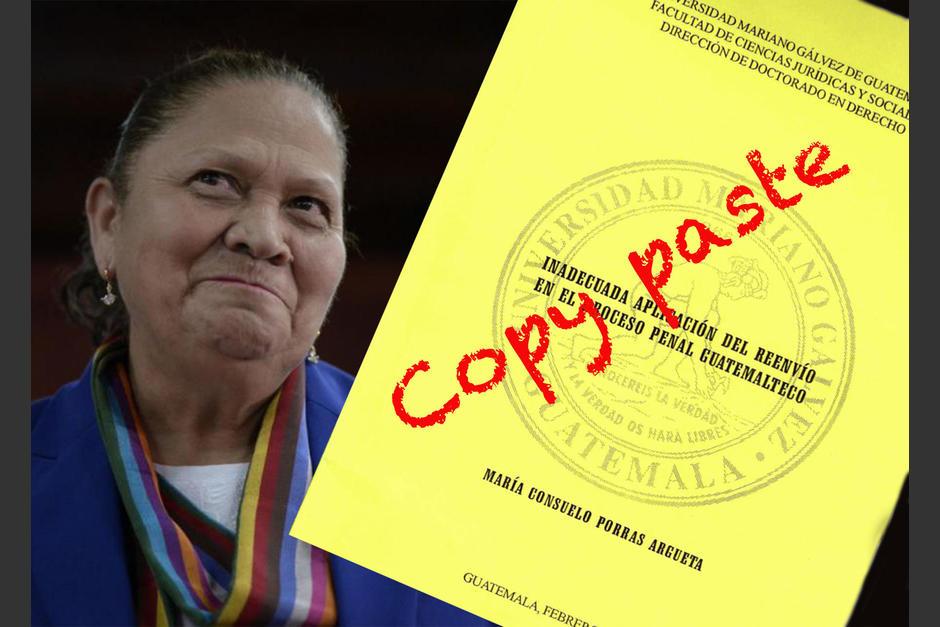 La fiscal General, Consuelo Porras, elaboró una tesis para su Doctorado y se reveló que habría hecho copy paste de otro trabajo universitario. (Ilustración: Jessica Gramajo/Soy502)