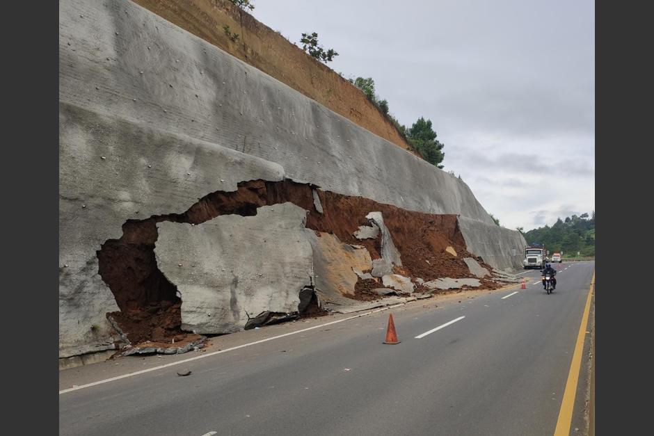 La Coordinadora Nacional para la Reducción de Desastres confirmó el derrumbe. (Foto: Conred)
