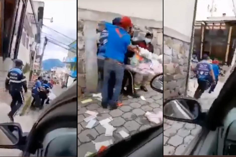 La Policía Municipal decomisó por la fuerza la mercadería de un vendedor ambulante en Sololá. (Foto: captura pantalla)