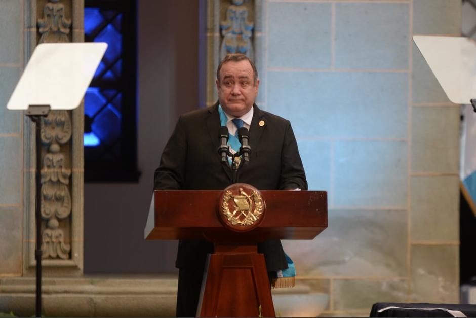 El presidente Alejandro Giammattei rinde su informe de Gobierno en el Palacio Nacional de la Cultura. (Foto: Wilder López/Soy502)