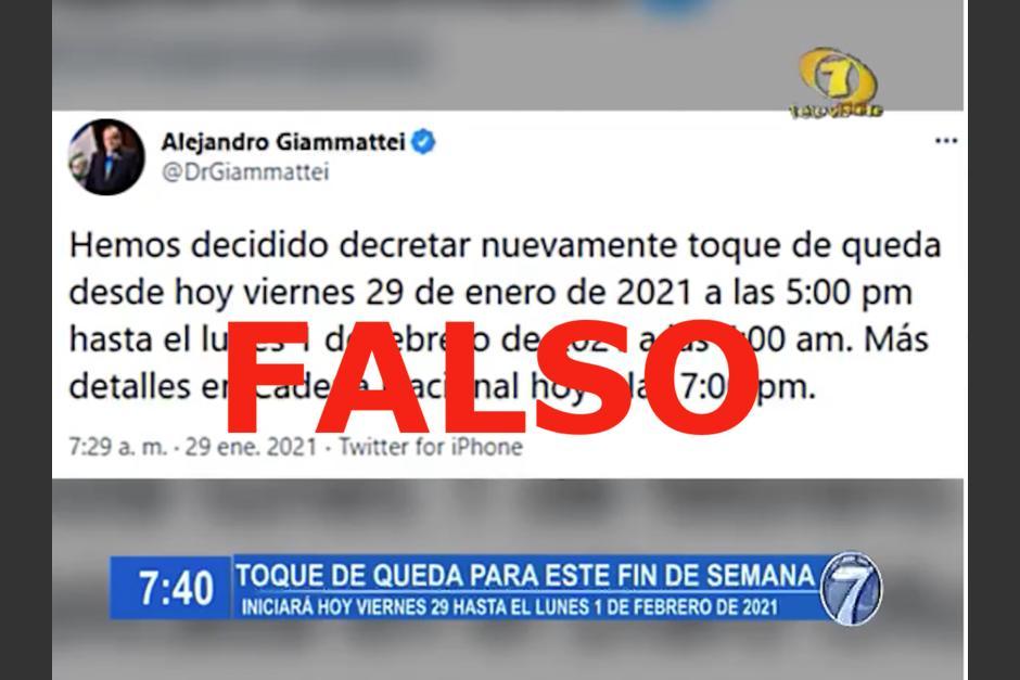 En redes sociales circula un video en el que se asegura que este viernes iniciará un nuevo toque de queda, pero fue desmentido por el Ejecutivo. (Foto: Captura de pantalla)