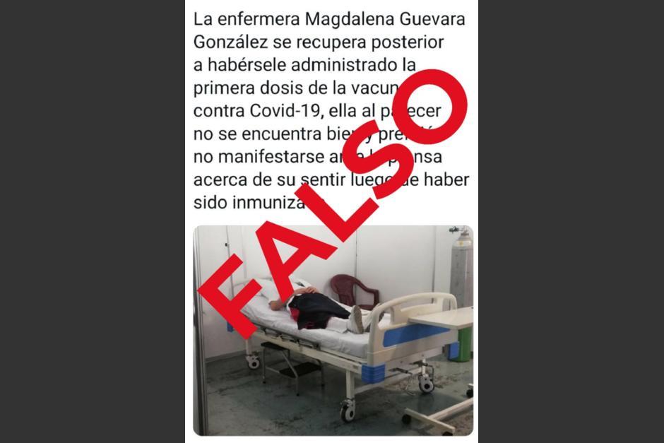 La enfermera negó haber presentado complicaciones por la vacuna. (Foto: Ministerio de Salud)