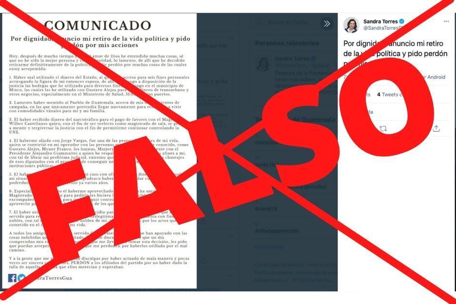 Este fue el mensaje que apareció por 20 minutos en la cuenta de Twitter de Sandra Torres, pero se confirmó que es falso. (Foto: Twitter/Soy502)