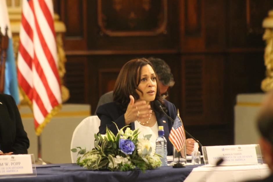 Kamala Harris en su primera participación en Palacio Nacional de la Cultura. (Foto: Wilder López/Soy502)