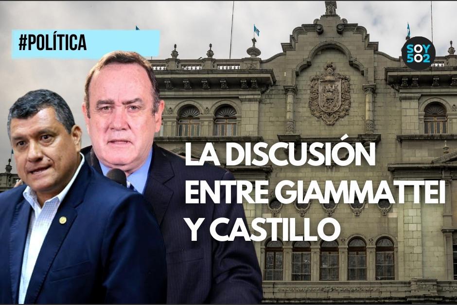 Alejandro Giammattei y el vicepresidente Guillermo Castillo protagonizaron una discusión este miércoles. (Foto: diseño Soy502)