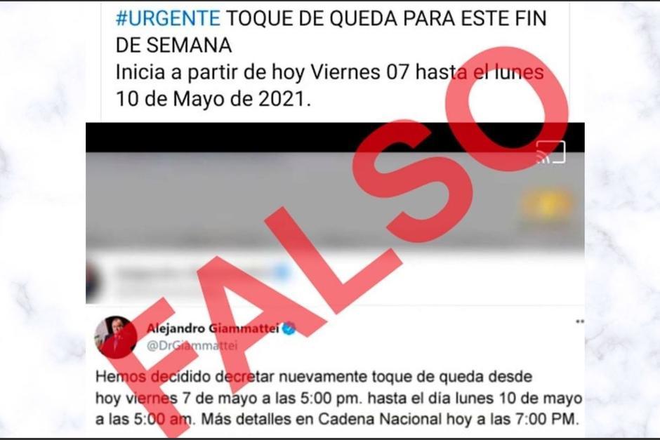 La publicación resalta que a partir de este viernes iniciaría un toque de queda. (Foto: Gobierno de Guatemala)