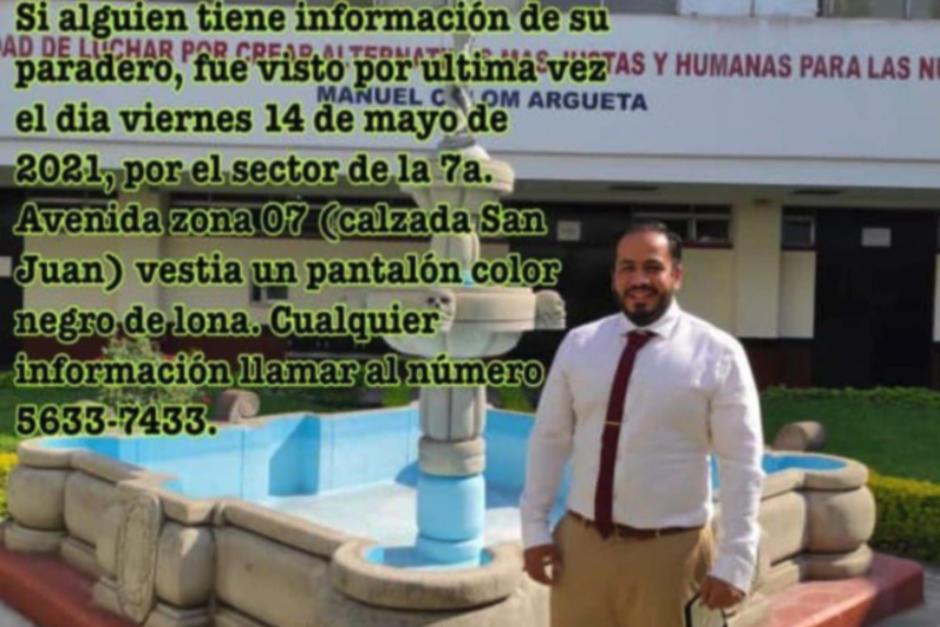 El auxiliar fiscal Ronald Iván Morales de Mata está desaparecido desde el 14 de mayo. (Foto: Redes sociales)