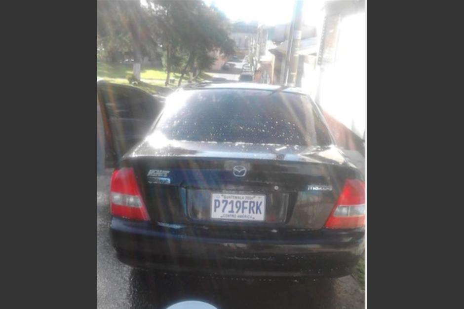 El vehículo es un Mazda sedan color negro placas 719FRK. (Foto: familia Guevara)