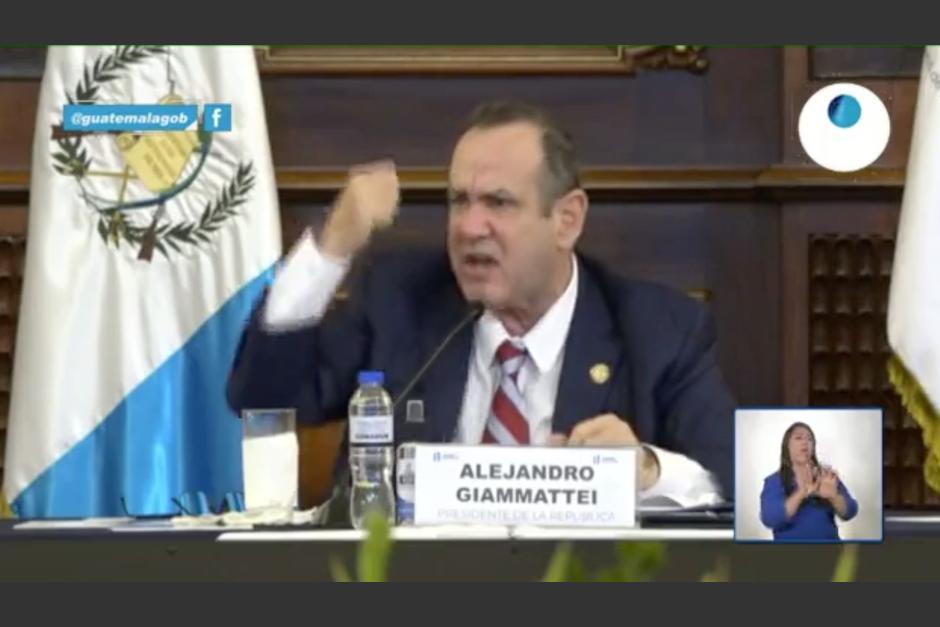 El presidente Alejandro Giammattei reaccionó molesto luego que no se aprobara el Estado de Calamidad. (Foto: Captura de pantalla)