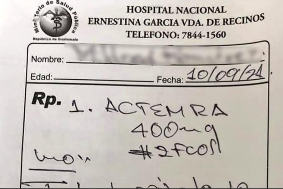 La receta médica fue extendida en el Hospital de Jutiapa. (Foto: Twitter Rafael Maldonado)