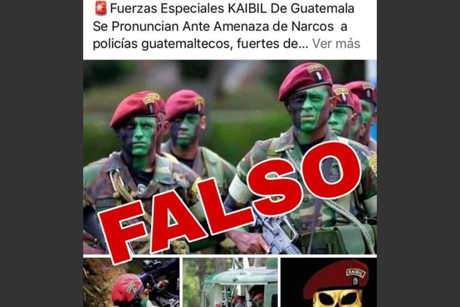 En páginas de Facebook circula información falsa acerca de la unidad kaibil del Ejército. (Foto: Ministerio de la defensa)