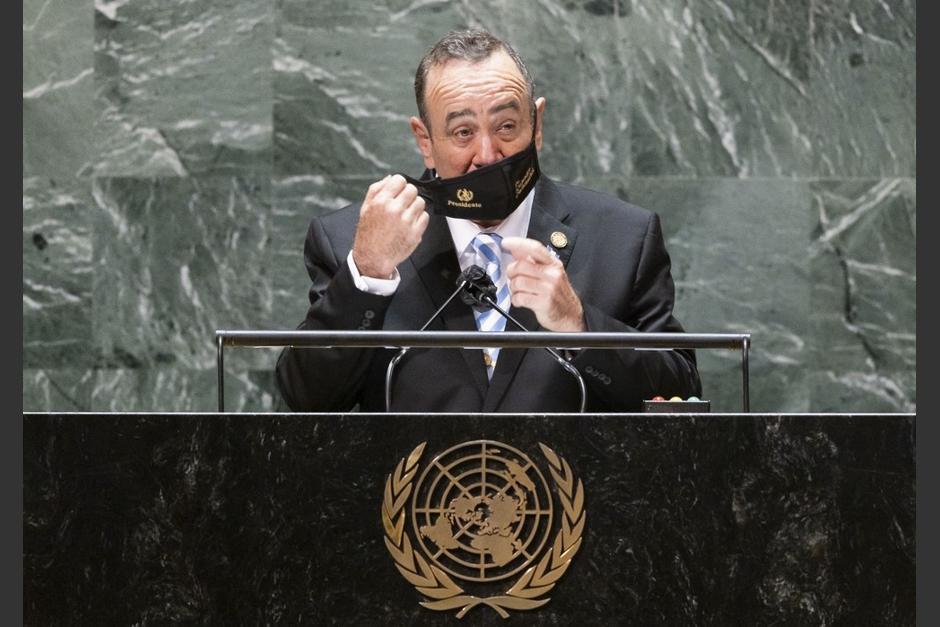 El presidente Alejandro Giammattei participó en la 76 Asamblea General de la ONU en Nueva York. (Foto: AFP)