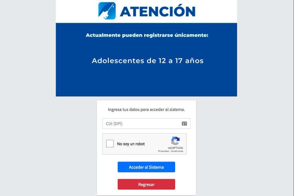 Guatemala inició la inscripción de menores de entre 12 y 17 años para vacunación. (Foto: Ministerio de Salud)