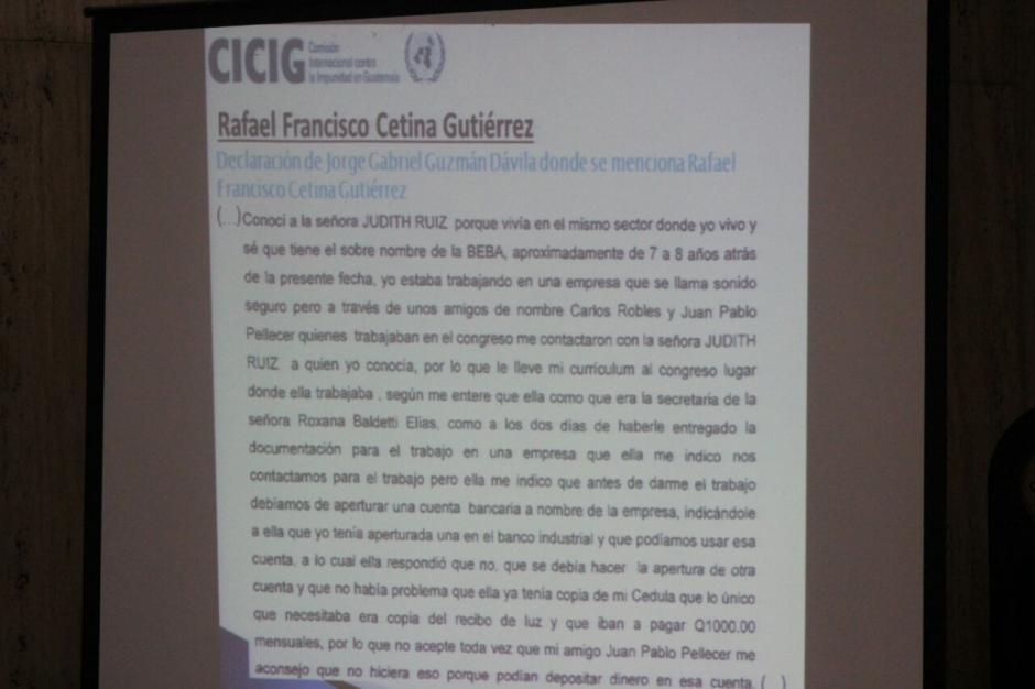 La CICIG presentó las declaraciones de algunos testigos en el caso Cooptación del Estado.  (Foto: Alejandro Balán/Soy502)