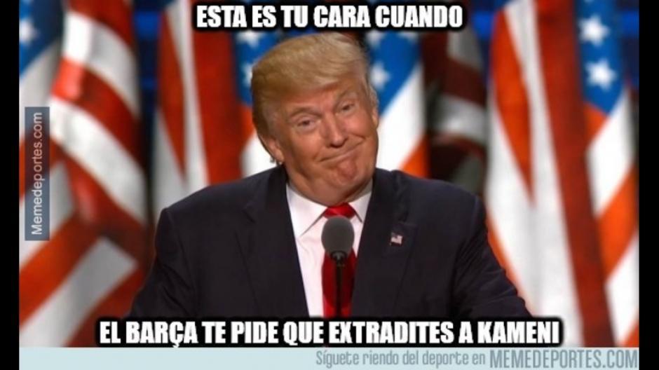 Donald Trump no podía faltar en el los memes del Barcelona. (Foto: Twitter)