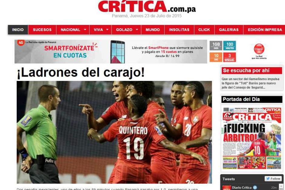 """""""La Crítica"""" de Panamá en su versión digital. (Foto: diez.hn)"""