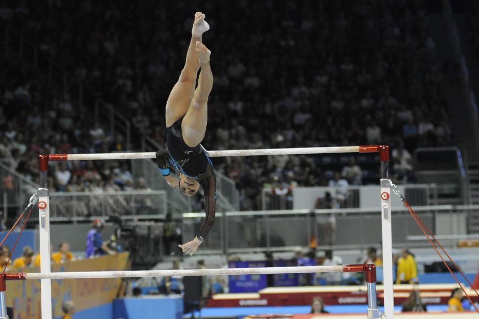 Ana Sofía tuvo una caída en barras asimétricas, lo que la dejó lejos de la medalla. (Foto: Pedro Mijangos/Soy502)