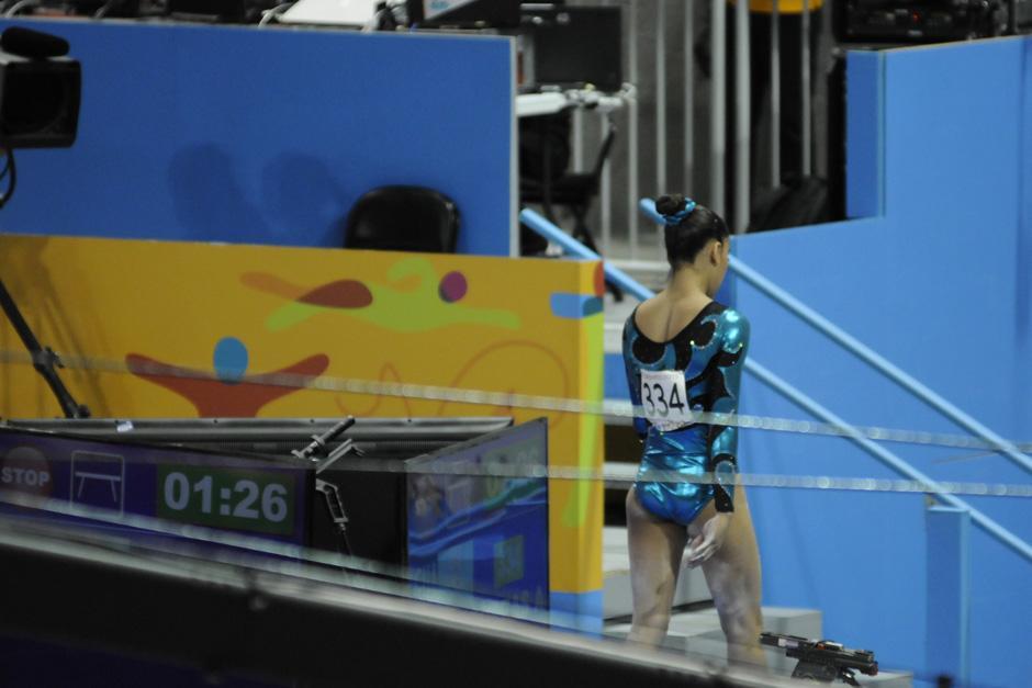 Ana Sofía Gómez lució desconsolada tras su participación en la final de viga de equilibrio