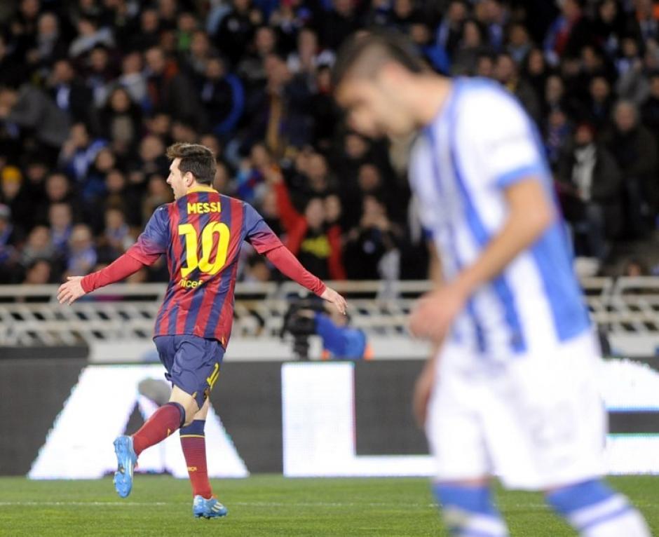 Messi celebró su gol, el único del encuentro para los azulgranas, quienes ahora dependerán del Real Madrid y lo que haga el Atlético para poder recuperar el liderato. (Foto: AFP)