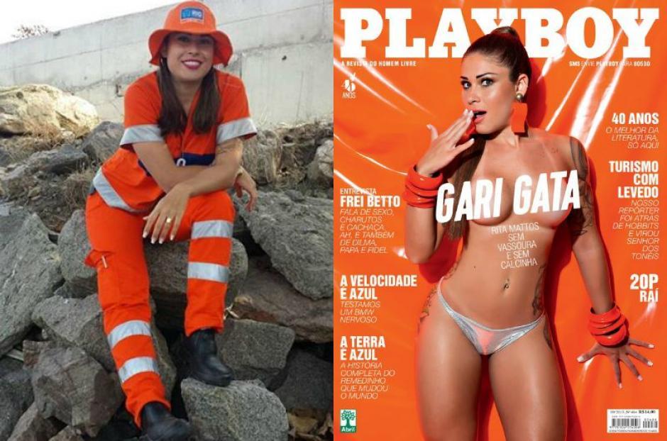 Rita Mattos, una joven que trabaja como barrendera en Río de Janeiro, triunfó en las redes sociales, al punto que Playboy la llevó a su portada. (Foto: Rita Mattos)
