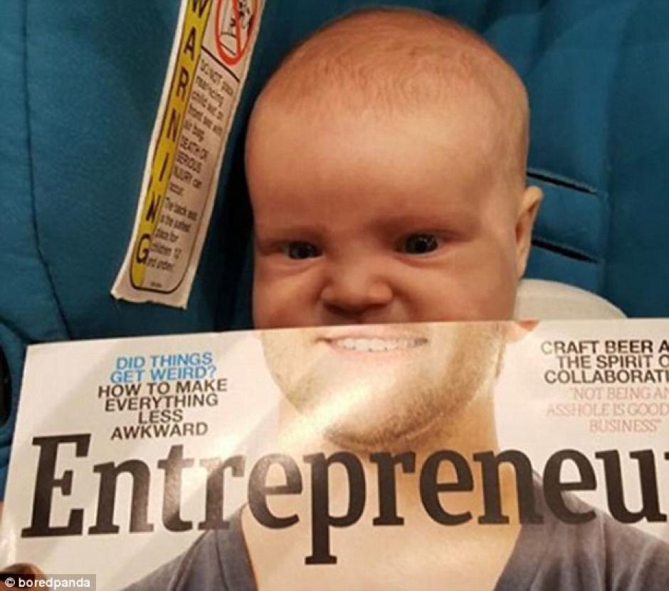 Un bebé completa la foto de un hombre. Foto: dailymail.co.uk)