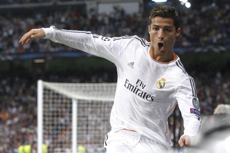 Cristiano Ronaldo celebra con euforia una anotación para el Real Madrid.