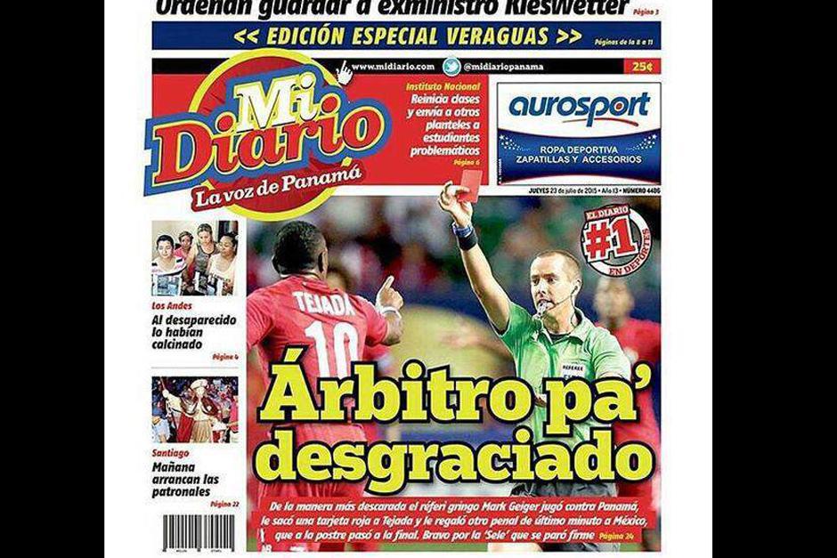 """""""Mi Diario"""" de Panamá tituló """"Árbitro pa' desgraciado"""". (Foto. diez.hn)"""