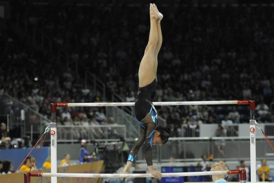 Ana Sofía Gómez Porras todavía tiene posibilidades de quedarse con algunas medallas en las pruebas de aparatos individuales. (Foto: Pedro Mijangos/Soy502)