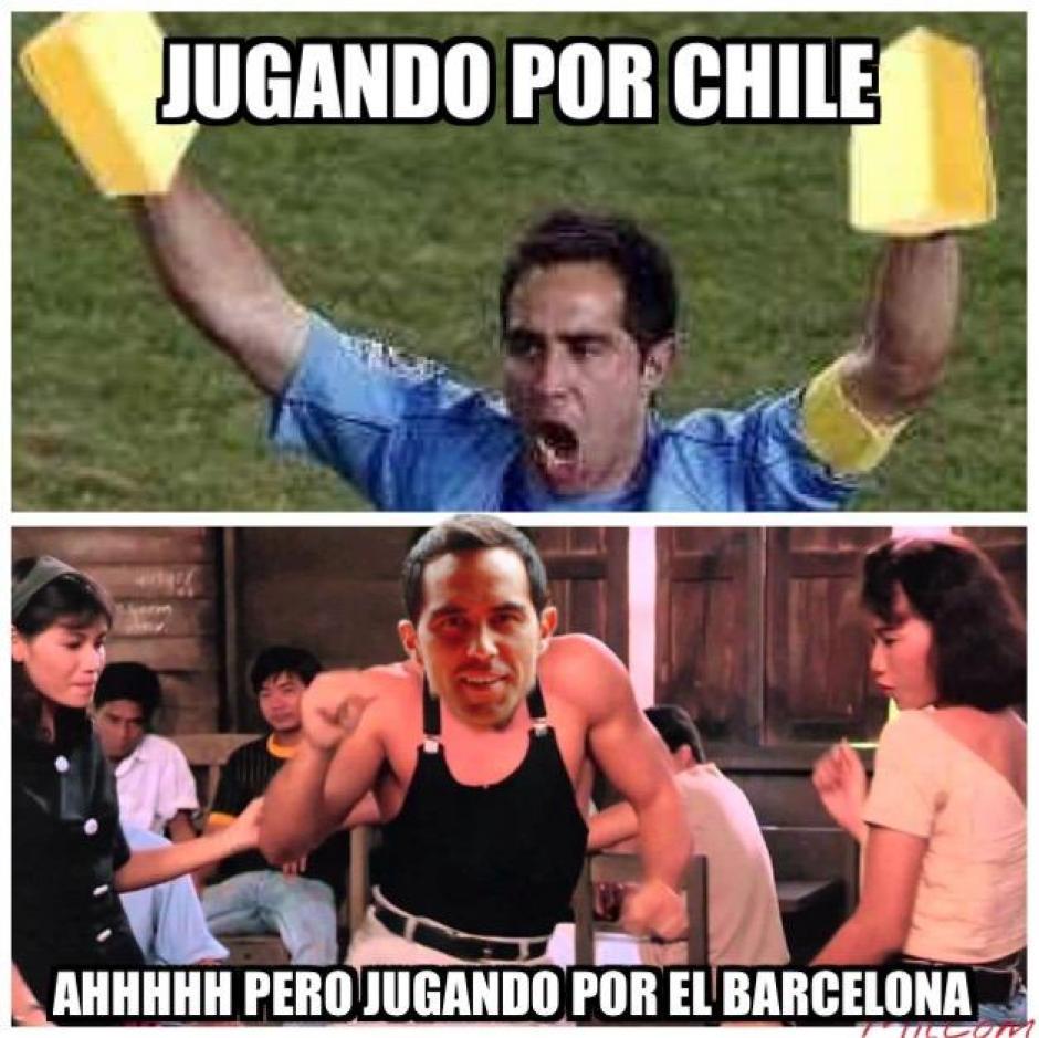 Con Chile una cosa con Barcelona otra, era la burla de algunos memes. (Foto: Twitter)