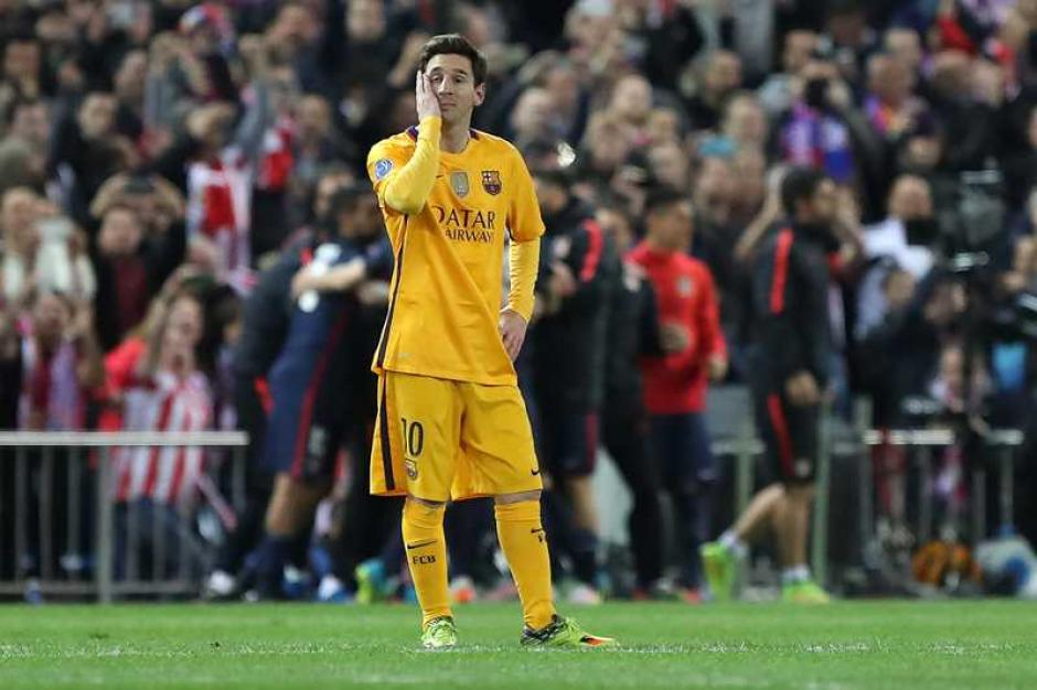 Lio y el Barcelona fueron eliminados de la pasada Champions por el Atlético en cuartos. (Foto: Twitter)