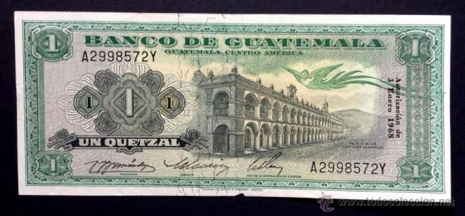 Así lucía en 1968 un billete de un quetzal. (Foto:todocoleccion.net)