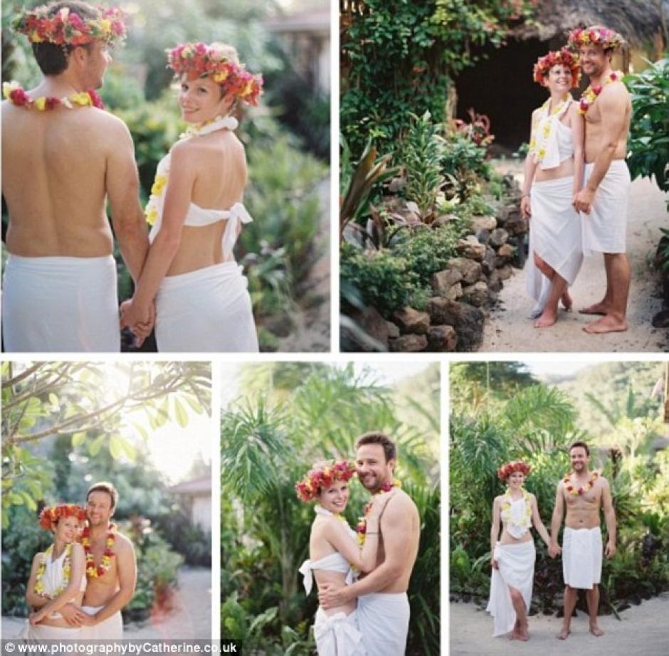 Una boda al estilo Tiki, realizaron en la isla de Moorea.