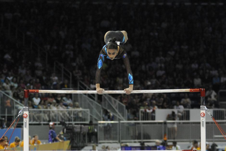 Ana Sofía Gómez obtuvo un total 11.800 puntos en su prueba de barras asimétricas. (Foto: Pedro Mijangos/Soy502)