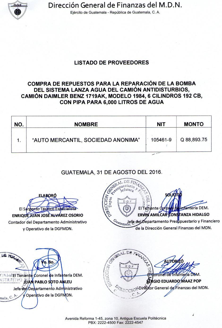 Estos documentos se adjuntaron a la compra de los repuestos. (Foto: Guatecompras)